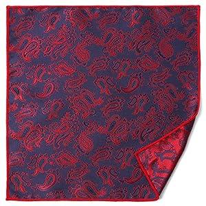(エムエイチエー) M.H.A.style ポケットチーフ ペイズリー リバーシブル フォーマル メンズ スーツ 21461 B.レッド