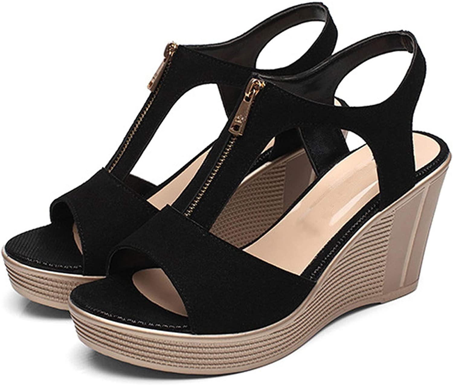 Heat-Tracing Women Casual Spring Wedges Solid Sandlas Peep Toe Ladies shoes Sandals