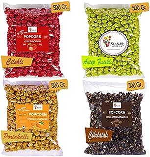 Popcorn Lüks Eğlence Paketi 2 Kg. - Çikolatalı, Antep Fıstıklı, Çilekli, Portakallı, Patlamış Mısır