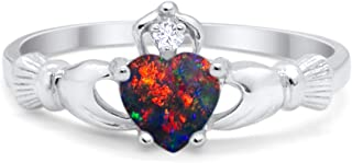 Blue Apple Co. Heart Shape Cubic Zirconia Claddagh Accent Wedding Ring 925 Sterling Silver