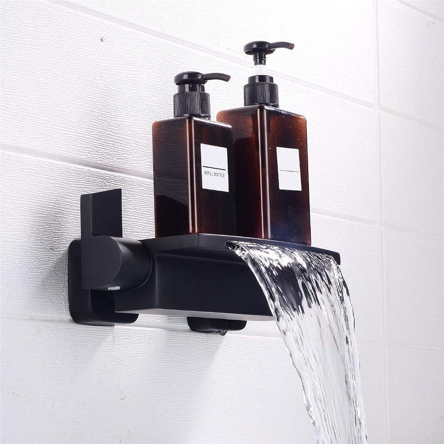 それによってゲストアブストラクト浴槽の蛇口 壁には滝バスタブ浴室の蛇口ブラックホット&コールドシャワーをマウント キッチンバーのトイレで使用できます (Color : Black, Size : Free size)