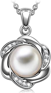 Miracle of Life Women Christmas Necklace Gifts Crystal White Pearl Sterling Silver Infinity Pendant Necklace for Women Hypoallergenic Material with Gift Box