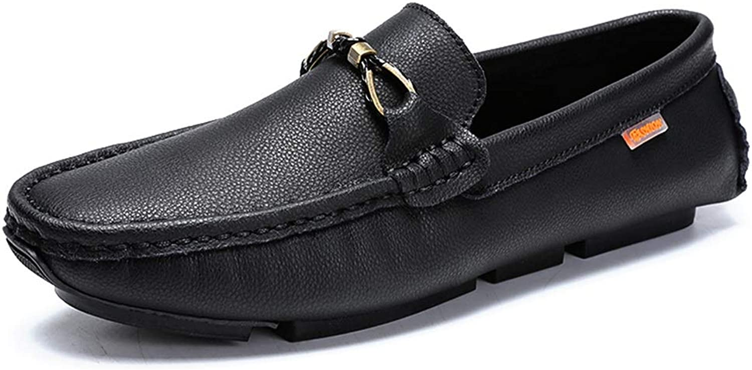 Ino Durable Driving Loafer for Men Boat Moccasins Slip On Style OX Leather Metaldecor Low Top Solid color