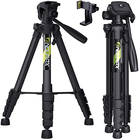 """Endurax 66"""" Video Camera Tripod Compatible with Nikon Canon, DSLR Cameras Stand Tall Tripods Lightweight Aluminum with Universal Phone Mount and Carry Bag"""