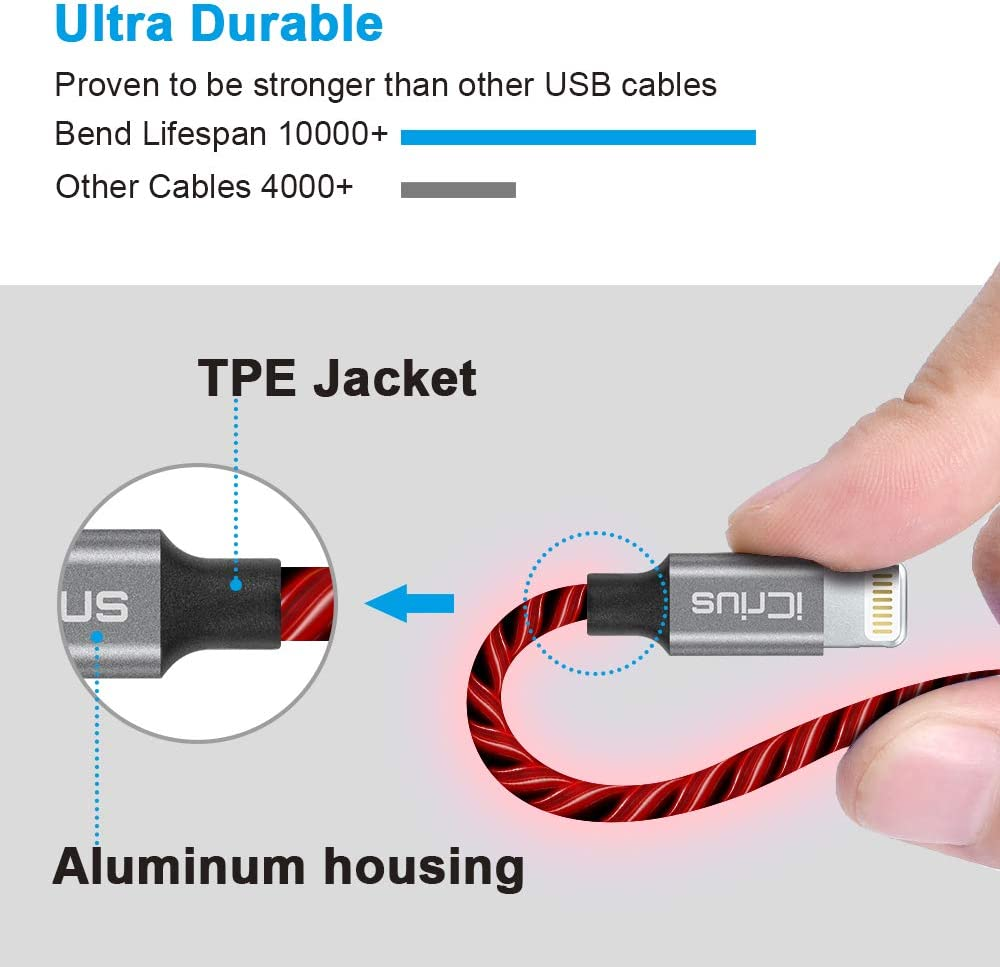 6ft LED Light Up Visible Flowing Lightning Charger Charging Cord Compatible iPhone11 Plus//XS//XR//X //8 Plus // 8//7 Plus // 7 iPod Touch More iCrius iPhone Charger Cable red Apple MFi Certified