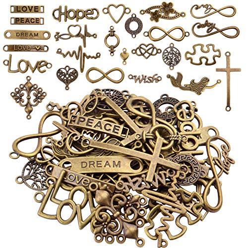 Aylifu Schmuck Verbinder Basteln, 50 Stück Metallanhänger mit Wörter graviert Infinity Symbol Verbinder Schmuckverbinder Charm zum Basteln Halskette Armbänder