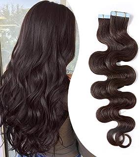 Elailite® Extensiones Adhesivas Rizadas Pelo Natural Cabello Humano Balayage 2.5g 20 Piezas 50g Ondulada Body Wave Tape in 100% Remy Human Hair - 16 Pulgada 40CM #02 Castaño Oscuro