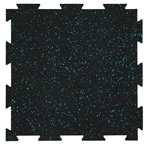 "Playsafer Genaflex Lite Rubber 8mm Interlocking Tiles for Gym Flooring, Exercise Equipment, Exercise Areas - 20"" X 20"" (Light Blue/Black, 10 Tiles - 27 Sq. Ft.)"