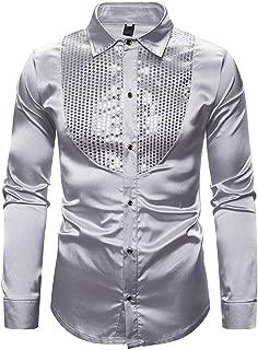 certainPL Men Dress Shirt Sequins Long Sleeve Button Down Shirt, Men's Holiday Party Casual Metallic Shiny Show Hosting Lapel Collar Long Sleeve Sequin Slim Fit Shirt S-XXL