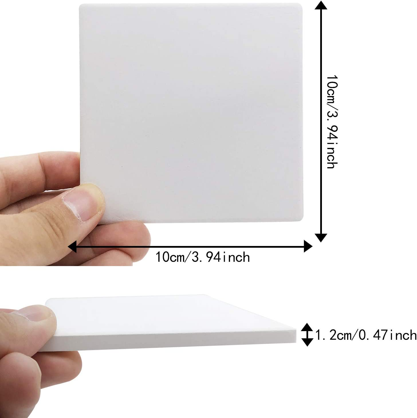 Unglazed Ceramic Tiles for Crafts 8PCS Un-Glazed White Tiles with Cork Backing Pads Square Use with Alcohol Ink or Acrylic Pouring Make Your Own DIY Coasters