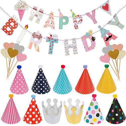 """Lictin Decorazione Compleanno """"Happy Birthday"""" - Decorazione Festa di Compleanno, Striscione """"Happy Birthday"""" con 9 Cappelli 2 Corone e 10 Cupcake Topper"""
