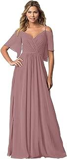 Women's V Neck Cold Shoulder Ruffled Prom Bridesmaid Dress Long Evening