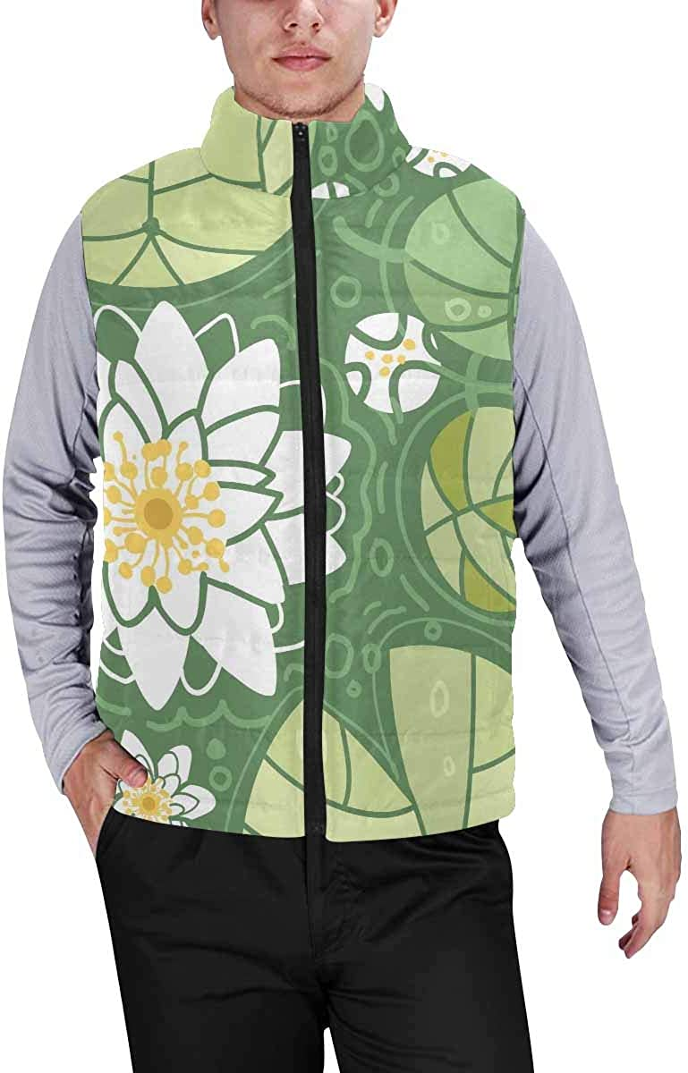 InterestPrint Casual Classic Quilted Sleeveless Vest for Men Cartoon Ladybug