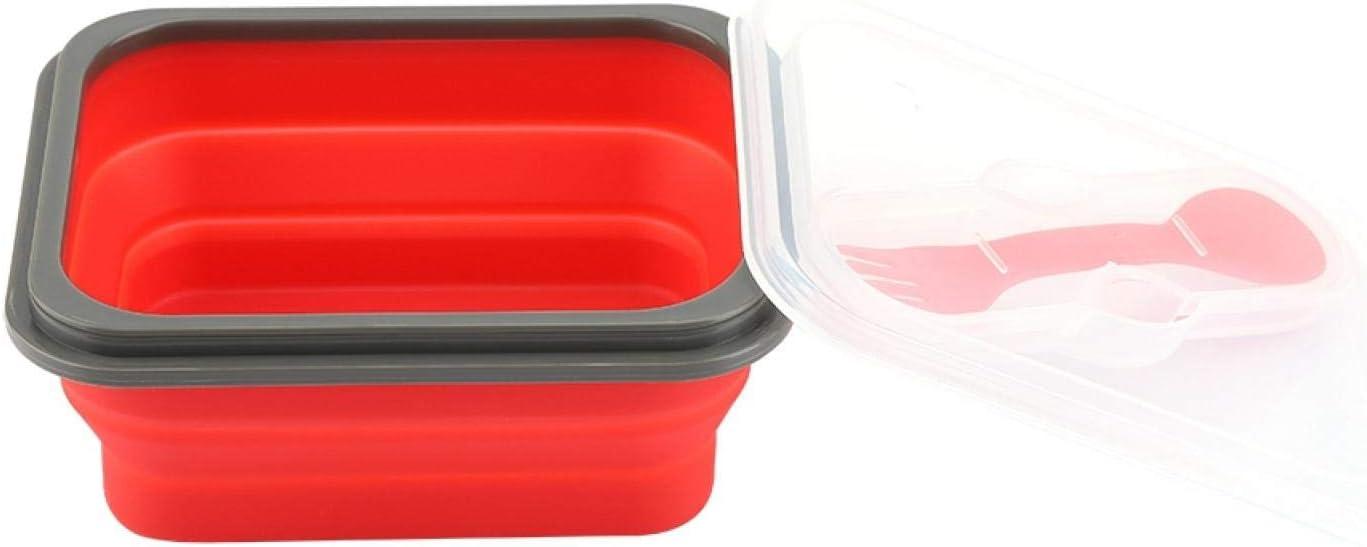 Gedourain Fiambrera Plegable, Contenedor De Almacenamiento De Alimentos Plegable Portátil Bento De 600 Ml Fiambrera para Picnic De Viaje Al Aire Libre para Hombres Y Mujeres(Rojo)