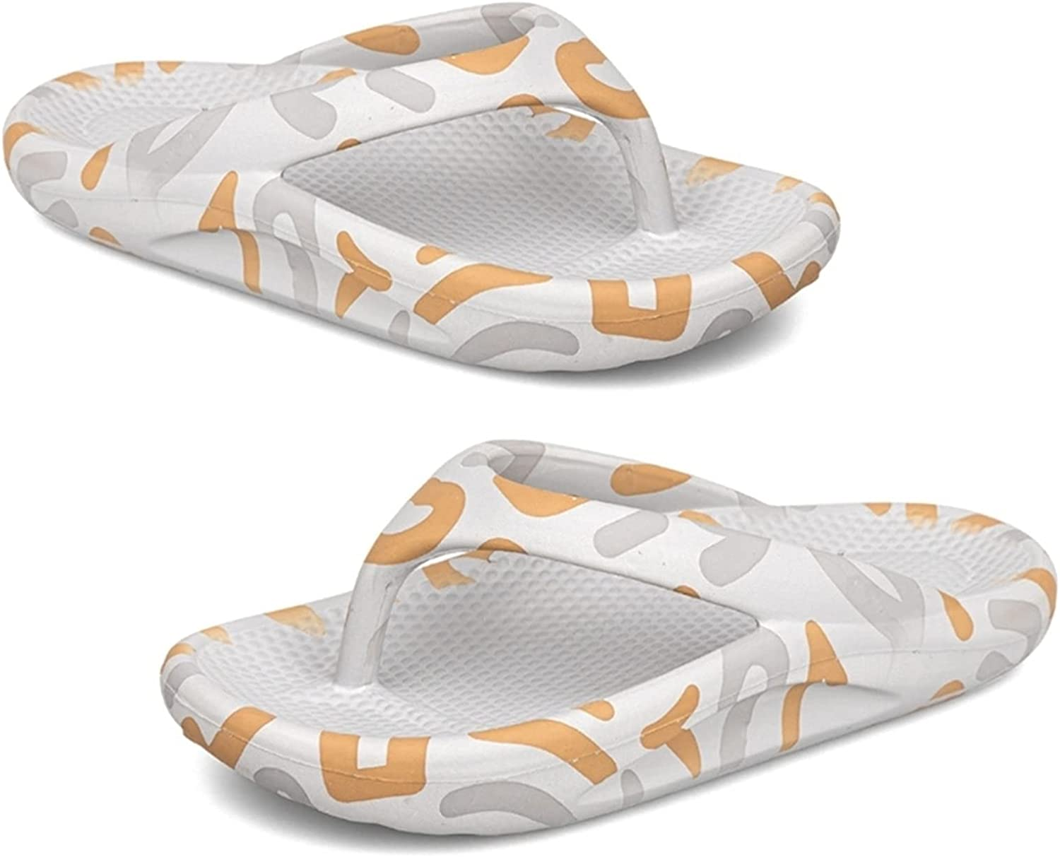 Yuncheng Women's Thick Bottom Flip Flop with Arch Support Thong Sandals Soft Bathroom Slippers Pillow Slides Outdoor Indoor (Color : Gray, Shoe Size : 8 Women/7 Men)