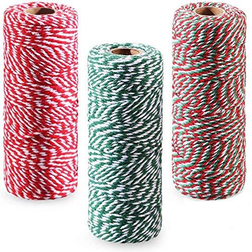 3 Rolls Cuerda de algodón navideña, 100M Guita de Panadero Cordón Navideño para Manualidades de Bricolaje, Artes Hechas a Mano, Envoltura de Regalos, Hornear, Carnicerías