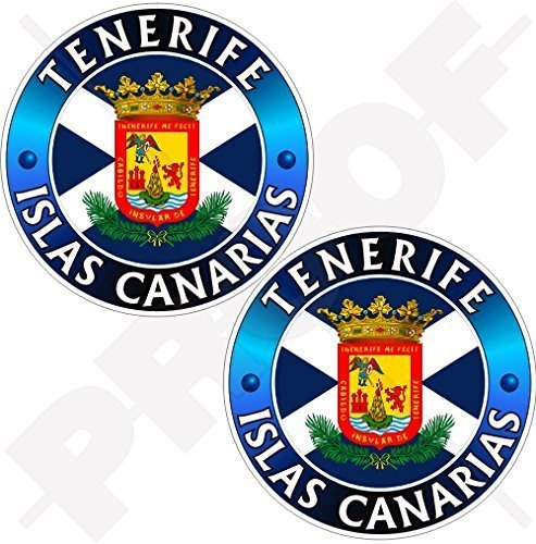 TENERIFFA INSEL, KANARISCHE INSELN Spanien, ISLAS CANARIAS Spanisch 75mm Auto & Motorrad Aufkleber, x2 Vinyl Stickers