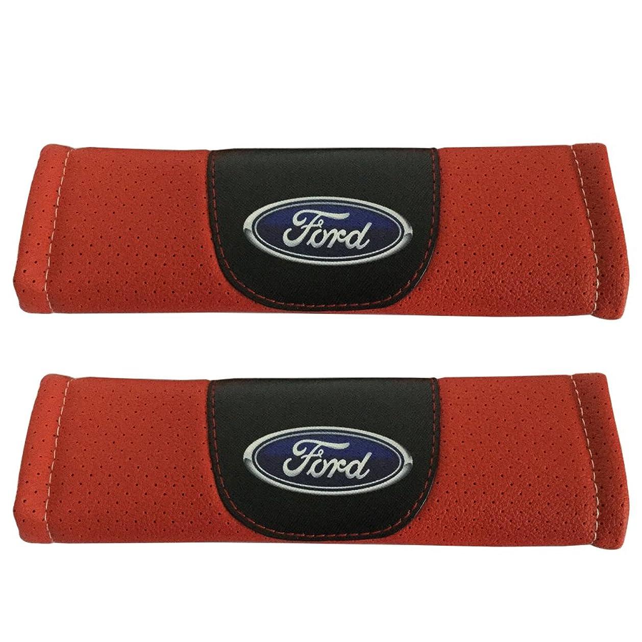 2pcs Ford Logo Leather Car Seat Safety Belt Strap Covers Orange Color Shoulder Pad Accessories Fit For Ford Explorer Ford F-150 Raptor Ford F-250 Super Duty Ford F-350 Super Duty Ford F-450 Super Duty aiusy9599