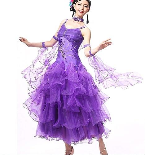 MoLiYanZi Ballsaal Tan Outfits Femmes Cristaux de Crêpière Haute Perforhommece Strass Paillettes Robe de Danse