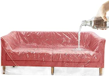 XIAQIU Lot de 2 housses de canapé en plastique très résistantes, imperméables et transparentes, 200 x 200 cm