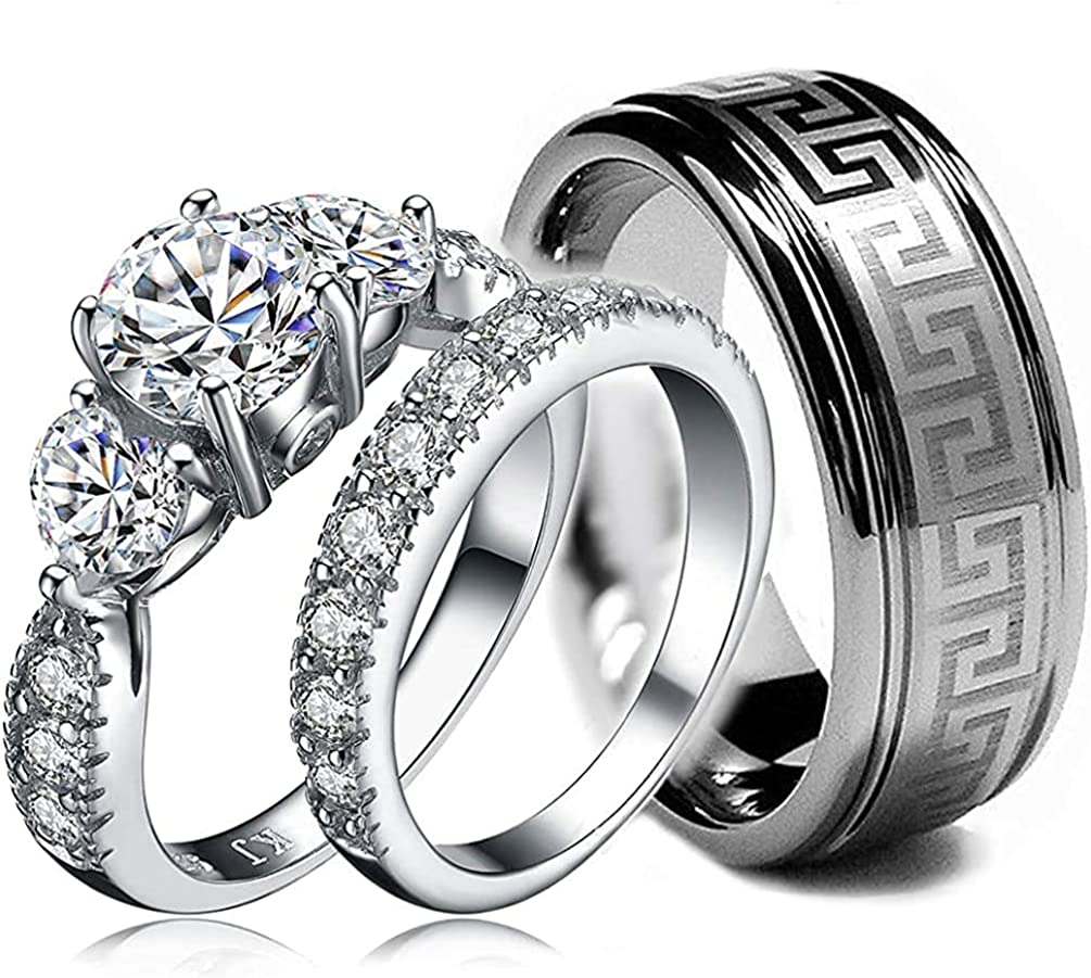 His and Hers Wedding Rings online shopping Outlet SALE - Rin Set 3 pc Ring