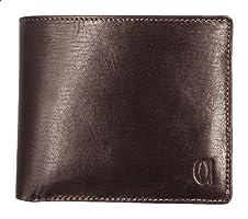 Alfa Leather Co. Engraved Logo Bifold Wallet for Men - Brown