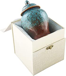 Keepsake Urns for Human Ashes Small Boxes, Mini Funeral Cremation Urns Adult - Fits a Small Amount of Cremated Remains - Display Burial at Home or Office Decor ( Sapphire Blue, Hand Ceramics