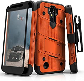 ZIZO Bolt Series LG K20 Plus Case Military Grade Drop Tested with Tempered Glass Screen Protector Holster LG Harmony Orange Black