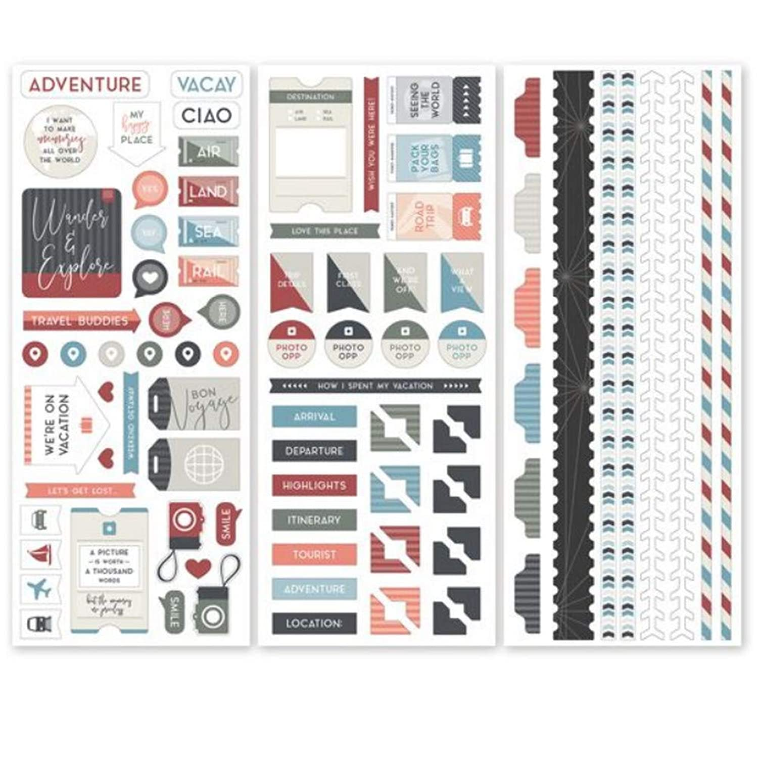 Travel Log Scrapbook & Stamping Stickers (3pk) by Creative Memories