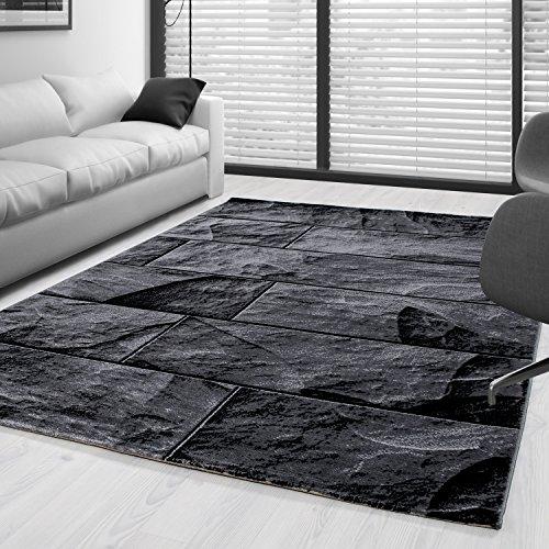 SIMPEX Moderner Design Stein Mauer Guenstige Teppich Kurzflor Schwarz Grau meliert 5 Groessen Wohnzimmer Gästezimmer, Flur, Schlafzimmerm, Kueche, Läufer, Größe:160x230 cm