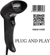 2D Scanner, Handheld CCD Barcode Scanner MUNBYN Auto Sensing Barcode Reader for 1D and 2D QR Bar Code with 1.5 Meters USB Cable for Mobile Payment Computer Screen Scan Support Mac OS