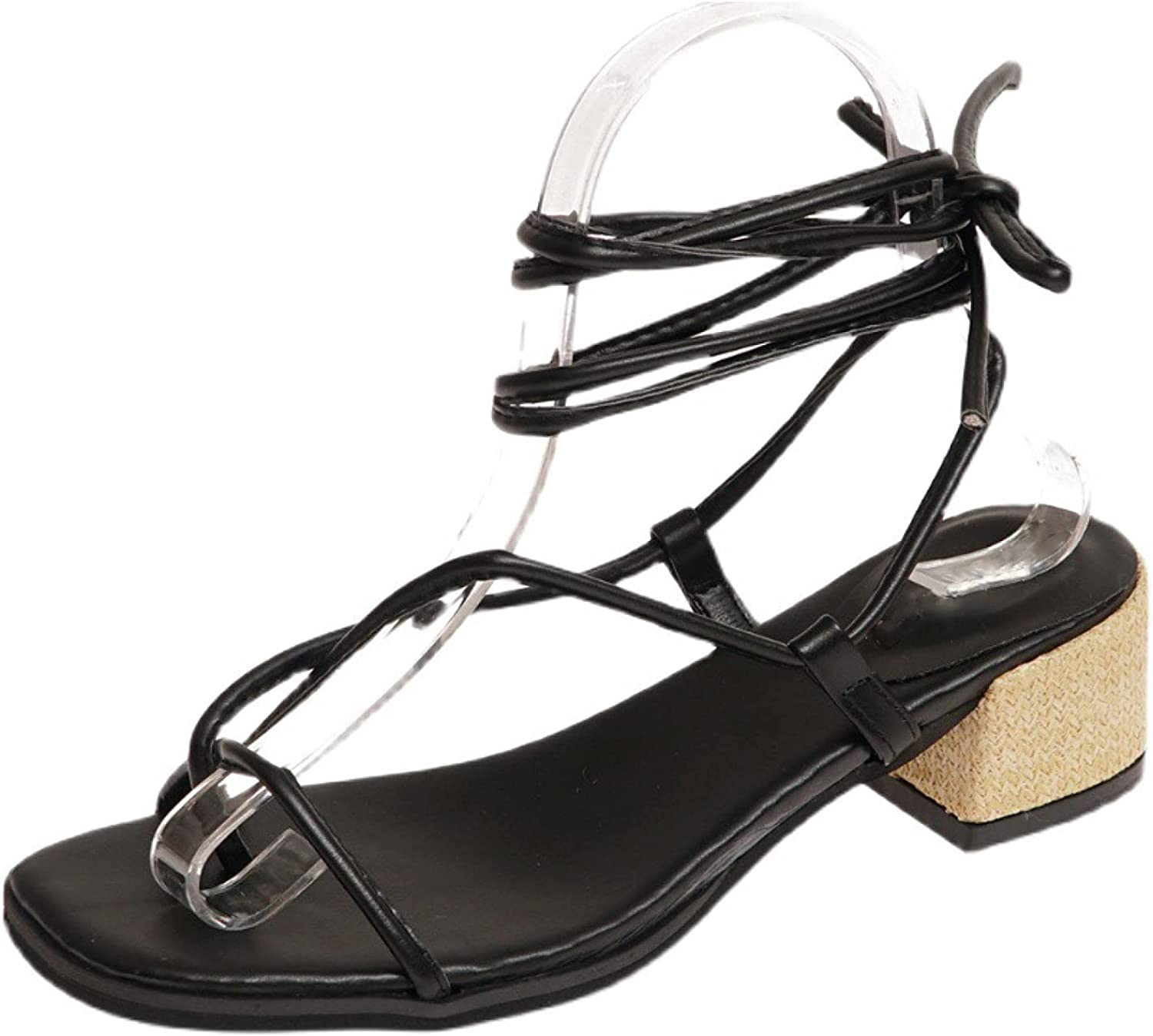 Women Weaves Heels Sandals Discount mail order Strappy W Clip Square Toe store Fashion