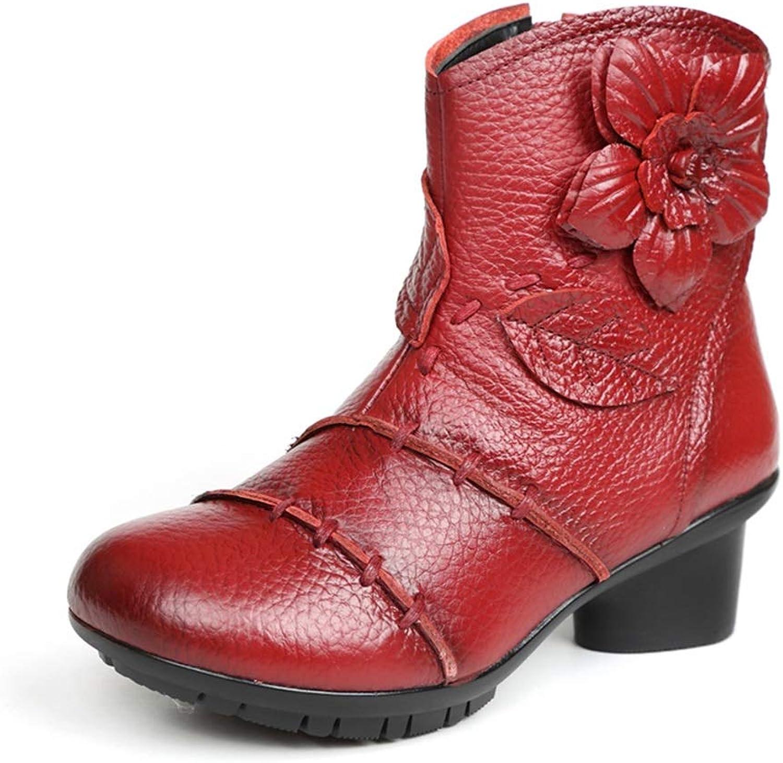 Booslipss Booslipss Booslipss Woherrar Booslipss, läder Retro   skor Thick Heel Bare stövlar Ladies ny Folk -Cust Chelsea stövlar (färg  A, Storlek  40)  dagliga låga priser