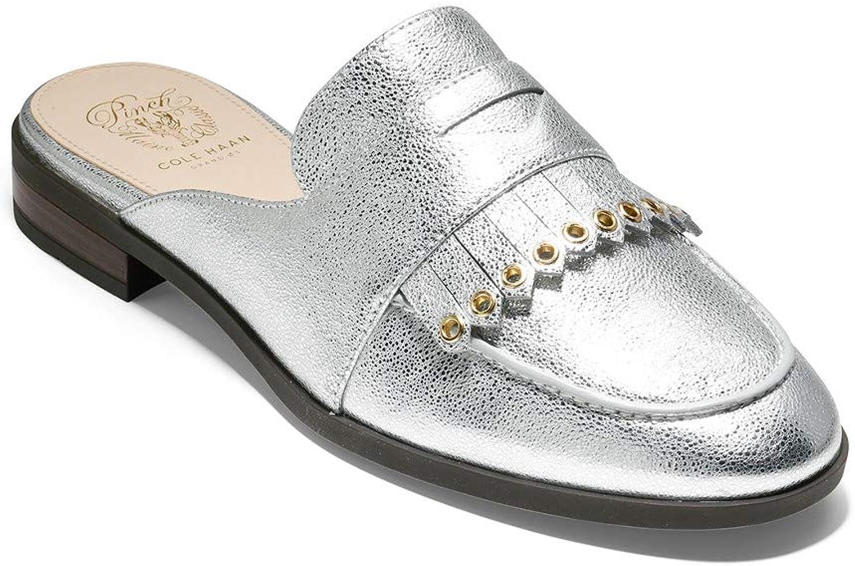 Cole Haan Womens Pinch Kiltie Slide Silver Crackle Metallic Leather 9 B - Medium