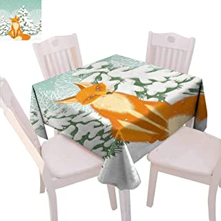 VICWOWONE Fox Square Tablecloth Celebration Red Fox Sitting in Winter Forest Snow Covered Pine Trees Xmas Cartoon Protection Table,70 x 70 inch Orange White Almond Green