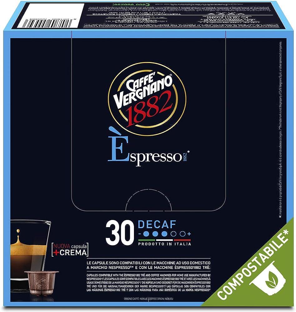 Caffè vergnano 1882, espresso decaffeinato, 8 confezioni da 30 capsule, compatibili nespresso compostabili
