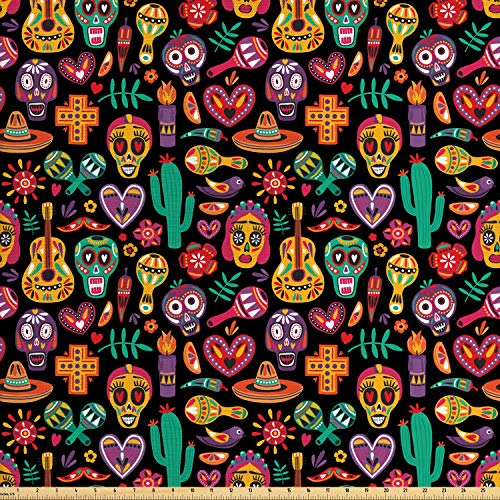 Ambesonne Day of The Dead Fabric by The Yard, Continuous Sugar Skull Flowers Pepper and Maracas Pattern, Decorative Fabric for Upholstery and Home Accents, 1 Yard, Charcoal Grey