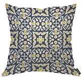 AOYEGO Navy and Yellow Mediterranean Throw Pillow Cover Chaotic Repeat Symmetric Kaleidoscope Modern Pillow Case 18x18 Inch Decorative Men Women Boy Girl Room Cushion Cover for Home Couch Bed
