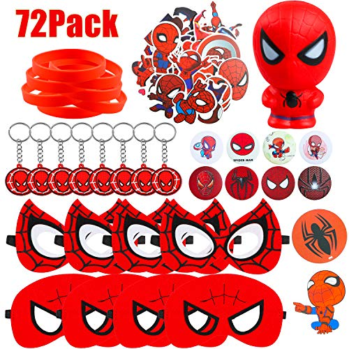 Grobro7 72pcs Spiderman Themed Party Supplies Spiderman Mask Slow Rising Squishies Spiderman Cartoon Sticker Rubber Bracelet Badge Keychain Superhero Birthday Party Favor For Kids Baby Shower Birthday Buy Online In Cayman Islands