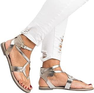 Gyoume Women Shoes Ankle Roman Sandals ShoesFashion Cross Strap Flat Sandals