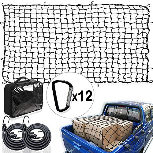CARBONLAND Heavy Duty CargoNet 60quotx90quot TruckBed Stretches to 120quotx85quot Truck Bed Net Includes 12pcs D Shape Aluminum Carabiners Compatible for Pickup SUV Trailer Comes with 2 Bungee Cords 435 Inches