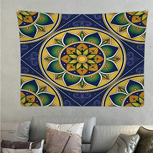 C COABALLA Italian Tile patternseamless with Ornament.Italy deruta Ceramic or Sicily Majolica - - Sicily,Tapestry Wall Hanging Tiled Floor Room Decor 59.1'' x 51.1''(WxH)