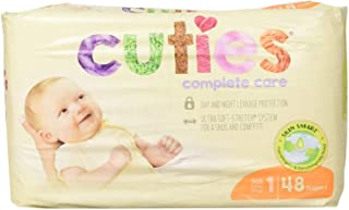 Cuties Complete Care Baby Diaper, Size 1, 8 to 14 lbs, CCC01 - Case of 192