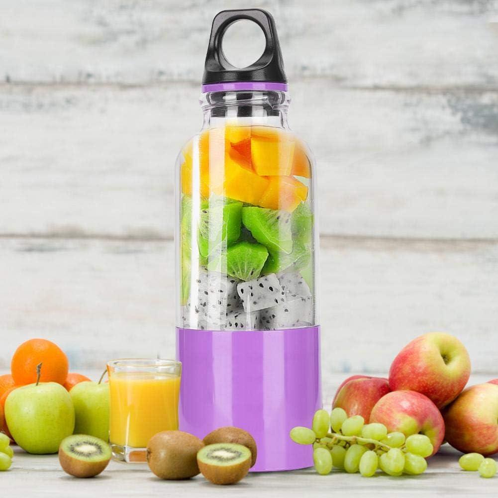 Copa exprimidor, batidora eléctrica portátil de 500 ml licuadora USB fabricante de jugo recargable, herramienta automática exprimidor de frutas Oficina(green, 500ML) Purple, 500ml