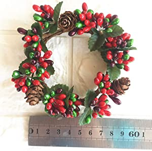 Holibanna 6Pcs Holly Berry Garland Artificial Pinecone Leaves Wreath Small Holiday Christmas Decoration About 7cm