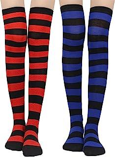 LADES Womens Knee-High Socks - Thigh High Socks Cotton Striped Over The Knee Socks Long Knee High Socks for Women