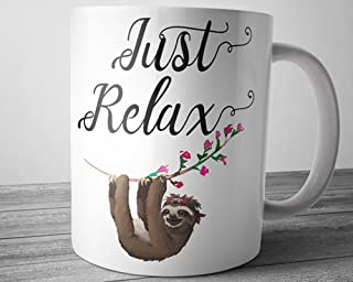 Just Relax Sloth Coffee Mug 11 Ounce Cute and Funny Tea Cup Yoga Gifts