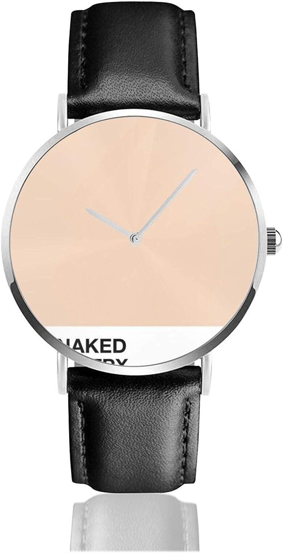 Obtener desnudo reloj de cuarzo movimiento impermeable correa de reloj de cuero para hombres mujeres simple reloj casual de negocios