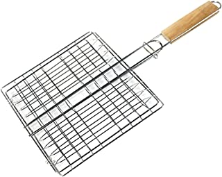 EORTA Barbecue Grill Basket with Wood Handle Stainless Steel Wire Net Basket Portable Cooking Fish Meat Kabob Hamburger To...