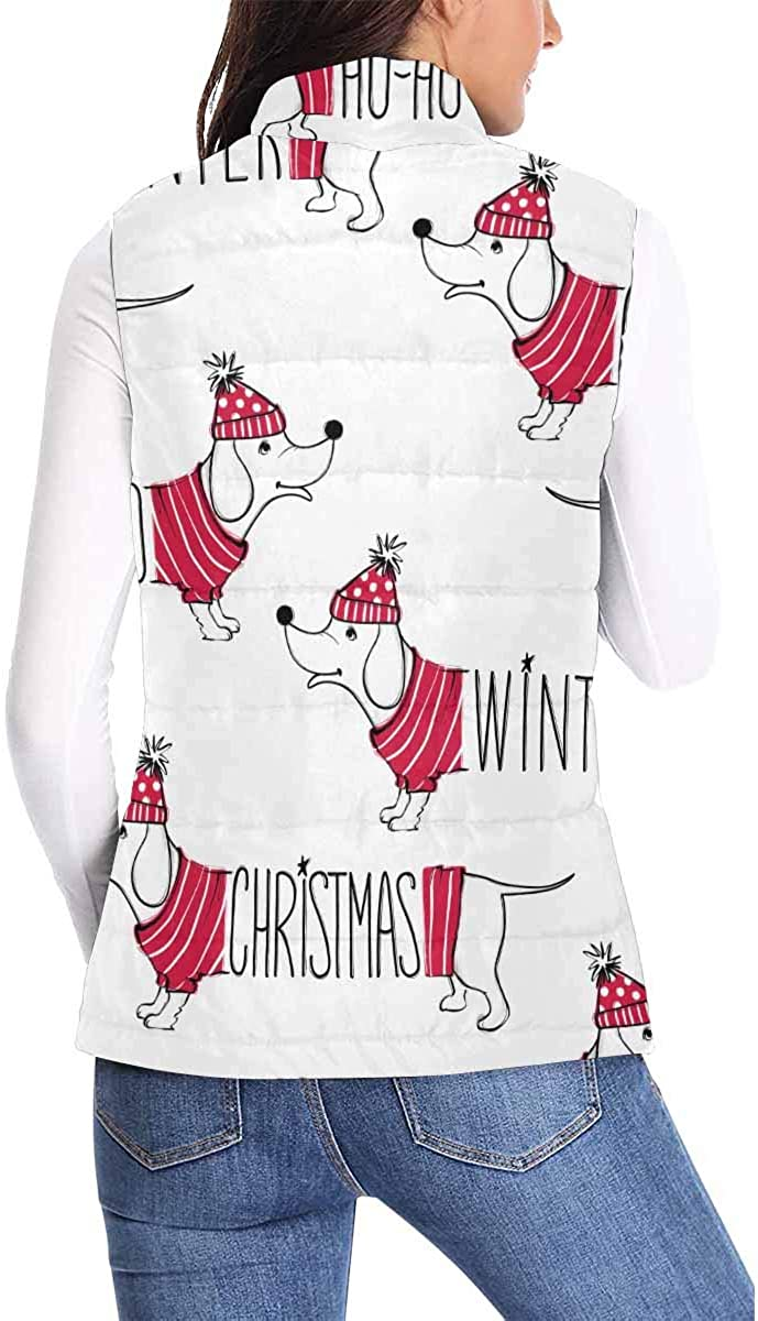 InterestPrint Women's Lightweight Vest Softshell Sleeveless Jacket Windproof Happy New Year Pets